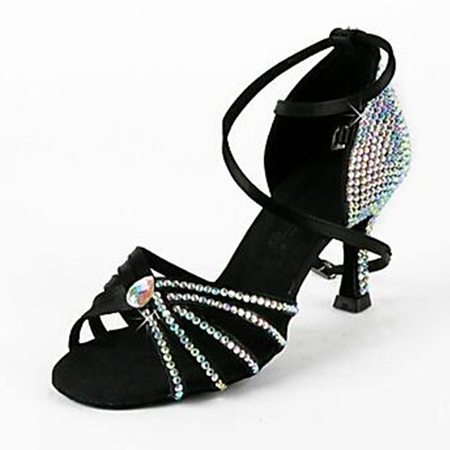 Women's Latin Shoes Modern Shoes Heel Sneaker Rhinestone Sparkling Glitter High Heel Black Blue Brown Cross Strap Teenager Adults' Glitter Crystal Sequined Jeweled Sexy Shoes