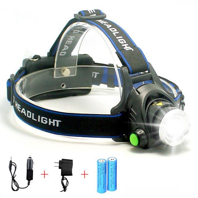 Lampes Frontales Phare Avant de Moto Super brillant 5000 lm LED LED 1 Émetteurs 1 Mode d'Eclairage avec Piles et Chargeurs Super brillant Portable Professionnel Etanche Camping / Randonnée