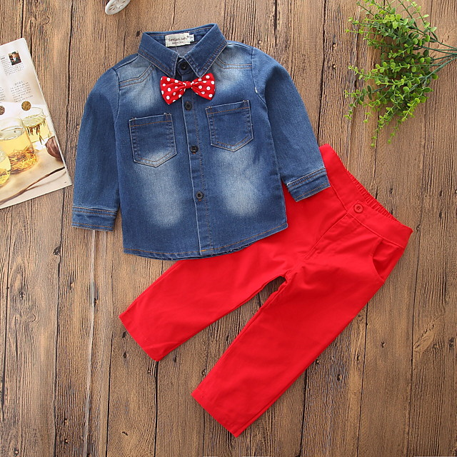 Kids Boys' Clothing Set Solid Colored Bow Long Sleeve Basic Regular Regular Blue