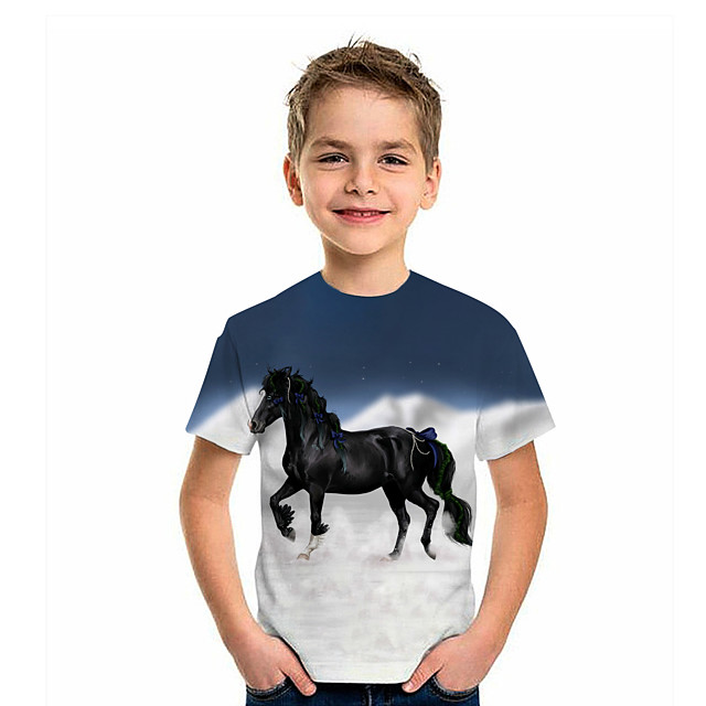 Kids Boys' T shirt Tee Short Sleeve Horse Graphic 3D Animal Print Children Tops Active Navy Blue