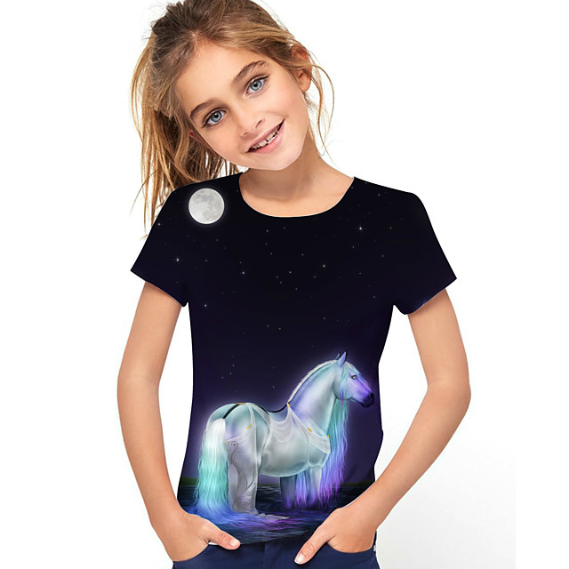 Kids Girls' T shirt Tee Short Sleeve Horse Graphic 3D Animal Print Children Tops Active Dusty Blue
