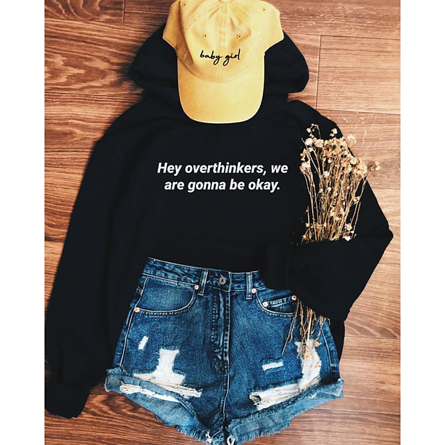Women's Pullover Hoodie Sweatshirt Graphic Text Letter Daily Weekend Basic Casual Hoodies Sweatshirts  Black