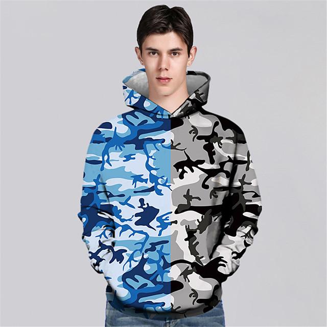 Men's Pullover Hoodie Sweatshirt Graphic Graphic Prints Print Sports & Outdoor Daily 3D Print Casual Hoodies Sweatshirts  Blue