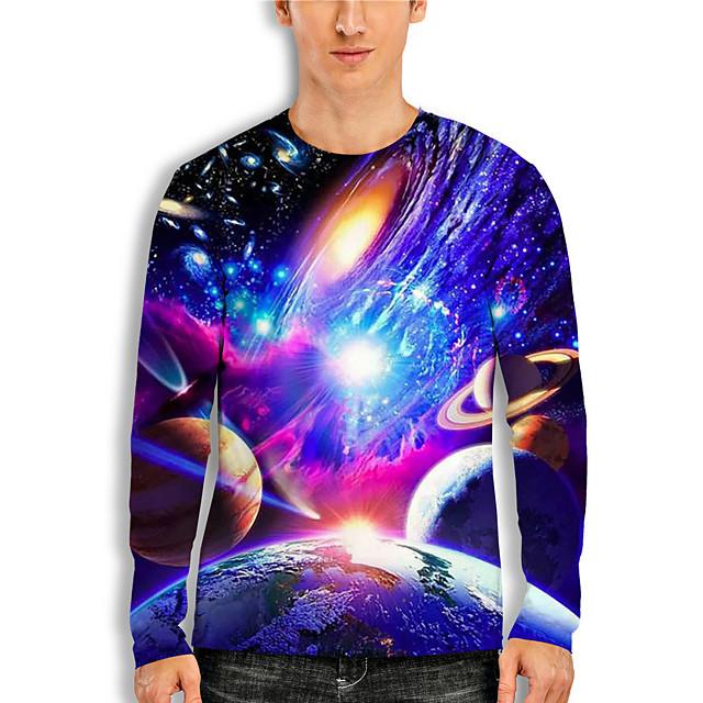 Men's T shirt 3D Print Galaxy 3D 3D Print Long Sleeve Daily Tops Casual Blue
