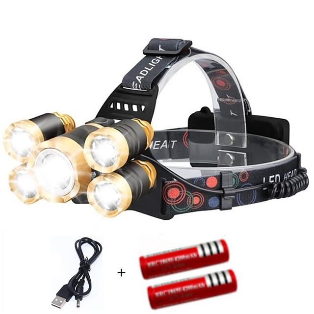 Czołówki Latarka Czołowa na Daszek Czapki Przednia lampka rowerowa 2000 lm LED 5 Emitery 4.0 tryb oświetlenia z bateriami i kablem USB Przenośny Odporność na wiatr Nowoczesne Łatwe przenoszenie