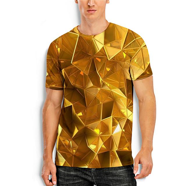 Men's T shirt 3D Print 3D Geometry 3D Print Short Sleeve Daily Tops Casual Yellow