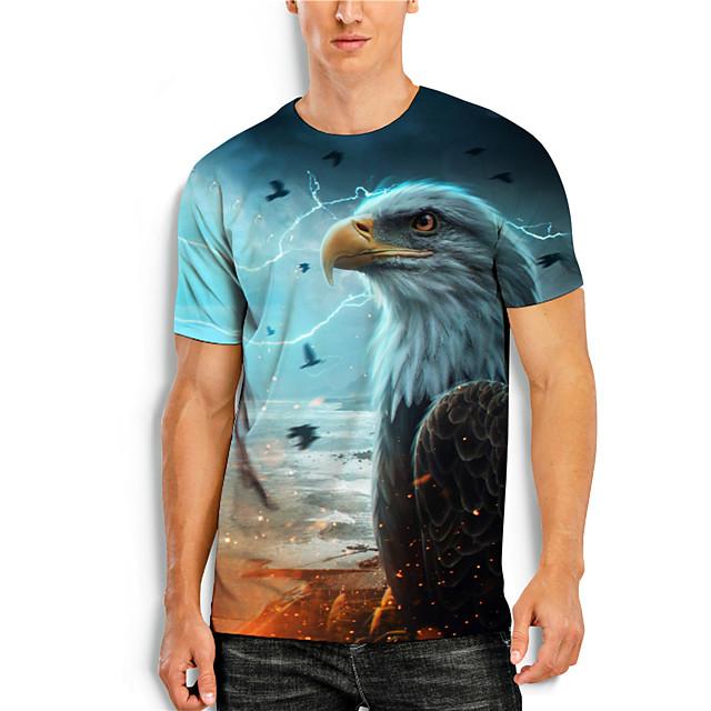 Men's T shirt 3D Print Graphic Animal Print Short Sleeve Daily Tops Basic Casual Blue