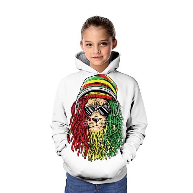 أطفال للفتيات كنزة بقبعة كم طويل الرسم 3D حيوان طباعة أبيض أطفال قمم نشيط
