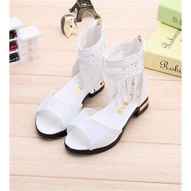 Girls' Sandals Princess Shoes PU Little Kids(4-7ys) Big Kids(7years +) Daily Walking Shoes White Black Pink Summer