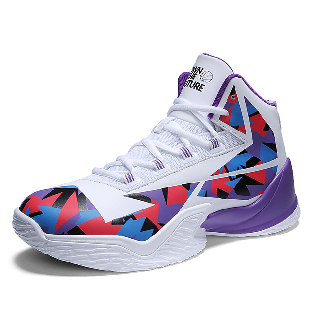 Men's Trainers Athletic Shoes Sporty Outdoor Basketball Shoes PU Non-slipping Black and White White / Purple Black Fall Spring