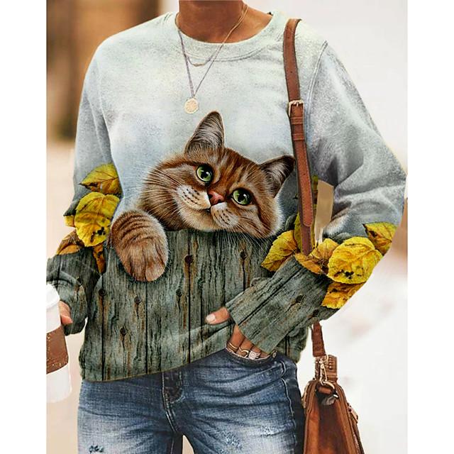نسائي كنزة صوفية قطة الرسم 3D طباعة مناسب للبس اليومي طباعة ثلاثية الأبعاد أساسي كاجوال هوديس بلوزات رمادي