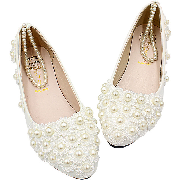 Women's Wedding Shoes Flat Heel Round Toe Wedding Flats Wedding Walking Shoes PU Pearl Floral Flat bottom [2020 version standard code] 8 cm heel [standard size] 3 cm heel height [standard code]