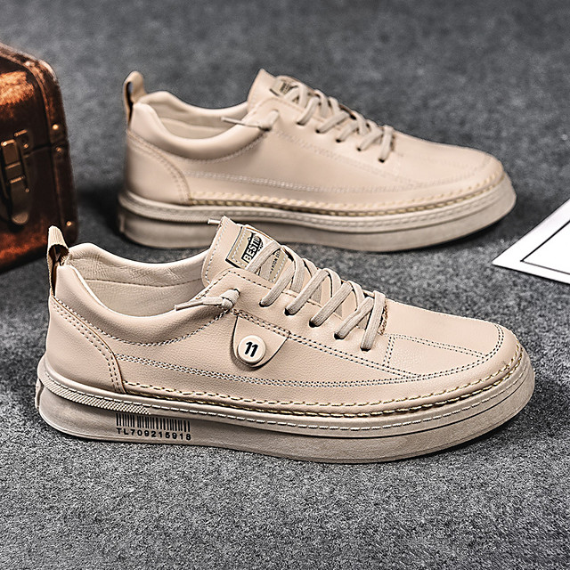 Men's Sneakers Casual Daily Walking Shoes PU Non-slipping Height-increasing Wear Proof Black Beige Fall Spring