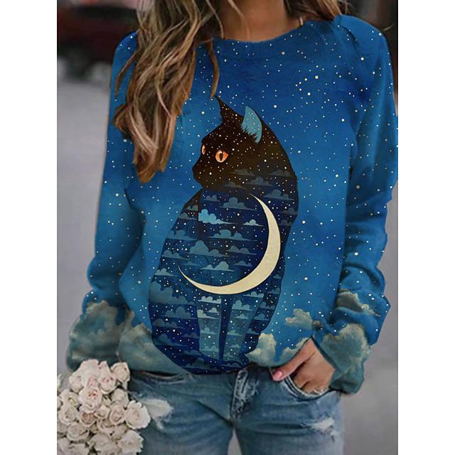Women's Pullover Sweatshirt Cat Graphic 3D Print Daily 3D Print Basic Casual Hoodies Sweatshirts  Blue