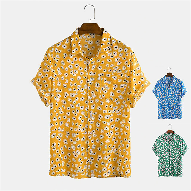 Men's Shirt Other Prints Floral Button-Down Print Short Sleeve Daily Tops Casual Hawaiian Blue Yellow Green