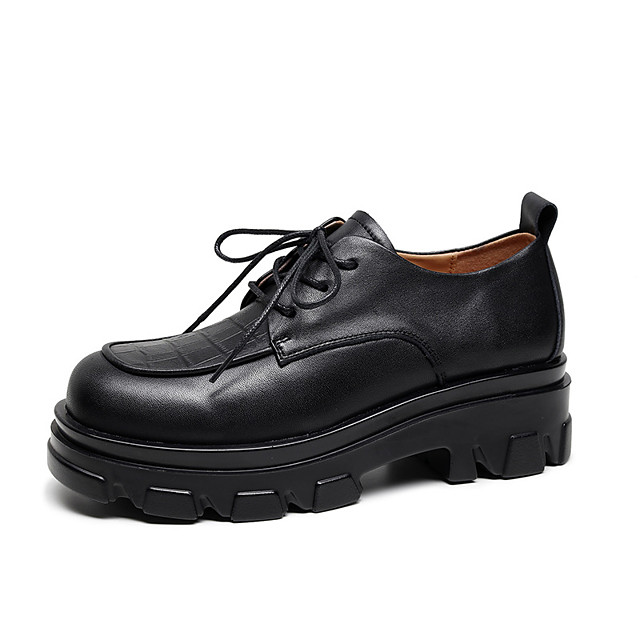 Women's Oxfords Flat Heel Round Toe Vintage Daily Walking Shoes Leather Lace-up Solid Colored Black Yellow Brown