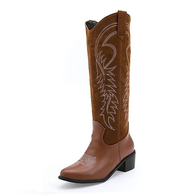 Women's Boots Block Heel Boots Cowboy Western Boots Cuban Heel Round Toe Knee High Boots Basic Casual Daily PU Solid Colored Dark Brown Black
