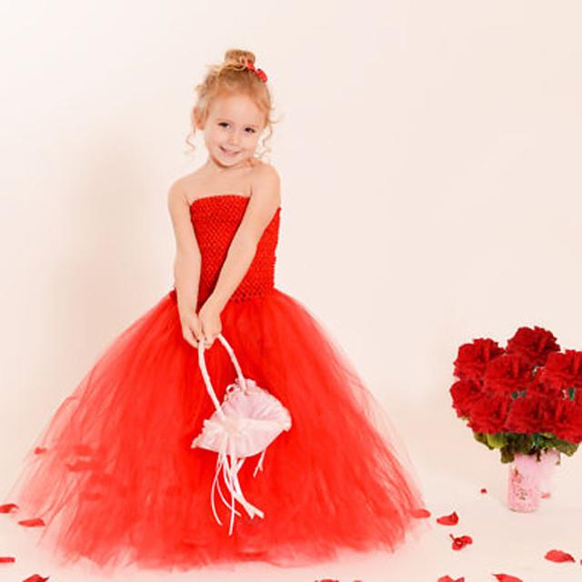 أطفال القليل للفتيات فستان لون سادة بدون ظهر متعدد الطبقات شبكة أحمر طويل للأرض بدون كم لطيف فساتين عادي