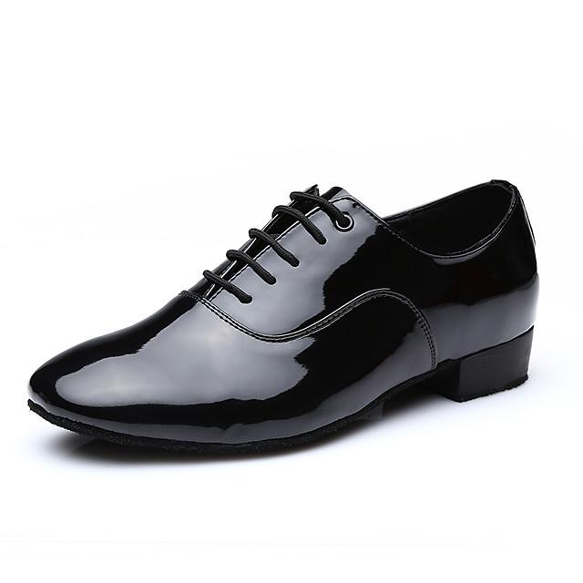 Voor heren Moderne dansschoenen Hakken Dikke hak Wit Zwart Veters Volwassenen