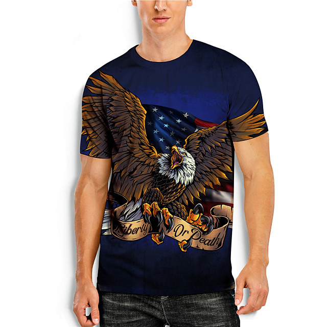 Men's T shirt 3D Print Graphic Animal Print Short Sleeve Daily Tops Basic Casual Blue
