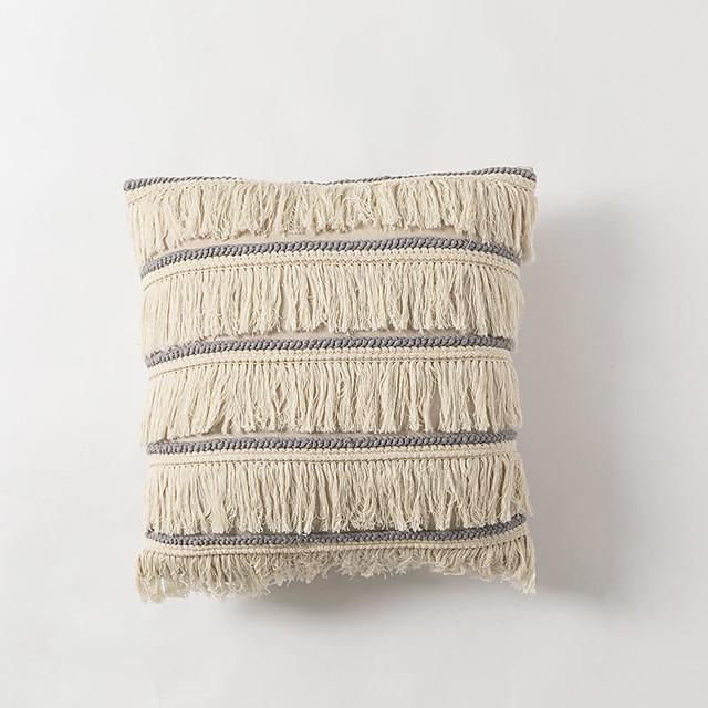 1 pcs Cotton Linen Pillow Cover, Tassel Luxury Modern Square Zipper Traditional Classic