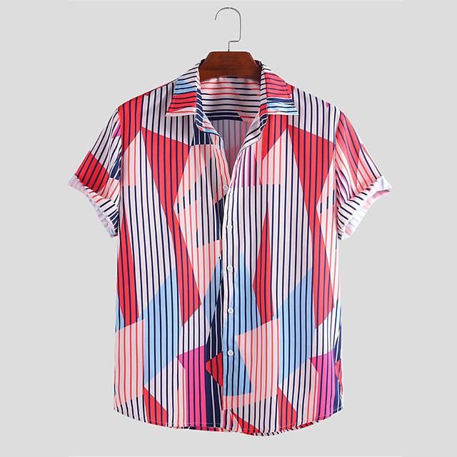 رجالي قميص مطبوعات أخرى مخطط زر أسفل طباعة كم قصير مناسب للبس اليومي قمم كاجوال ستايل هاواي وردي بلاشيهغ