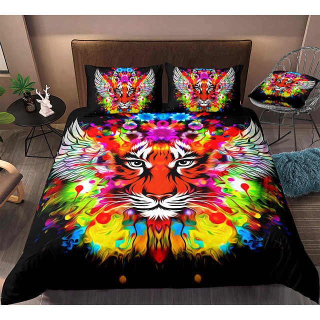 Tiger Print 3-Piece Duvet Cover Set Hotel Bedding Sets Comforter Cover with Soft Lightweight Microfiber, Include 1 Duvet Cover, 2 Pillowcases for Double/Queen/King(1 Pillowcase for Twin/Single)