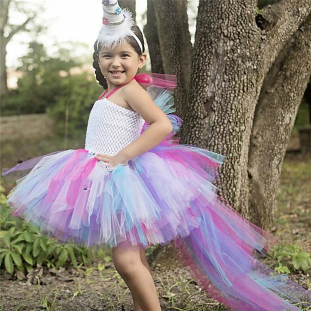 Kids Little Girls' Dress Cartoon Patchwork Layered Mesh Patchwork Rainbow Maxi Sleeveless Cute Dresses Regular Fit