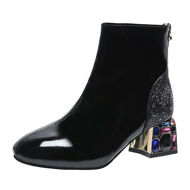 نسائي كتب كعب متوسط أمام الحذاء على شكل دائري أحذية الكاحل الجوارب كلاسيكي مناسب للبس اليومي PU لون سادة أسود / البوط القصير / بوط الكاحل