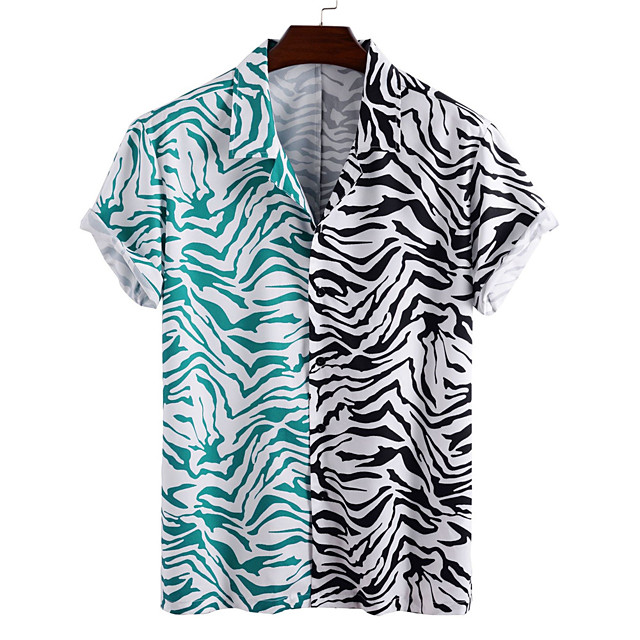 Men's Shirt Other Prints Color Block Button-Down Print Short Sleeve Daily Tops Casual Hawaiian White