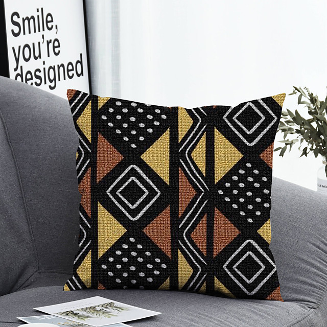 1 pcs Polyester Pillow Cover & Insert, Geometric Simple Classic Square Zipper Polyester Traditional Classic