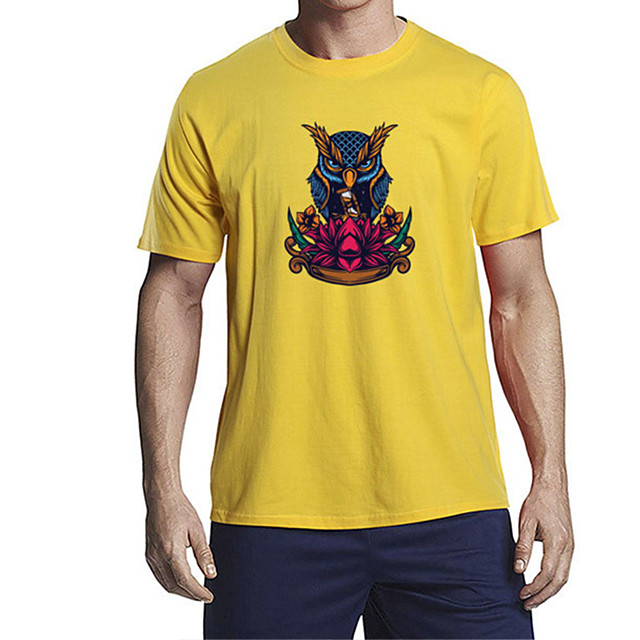 Men's Unisex T shirt Other Prints Floral Graphic Animal Plus Size Print Short Sleeve Daily Tops 100% Cotton Basic Casual White Black Blue