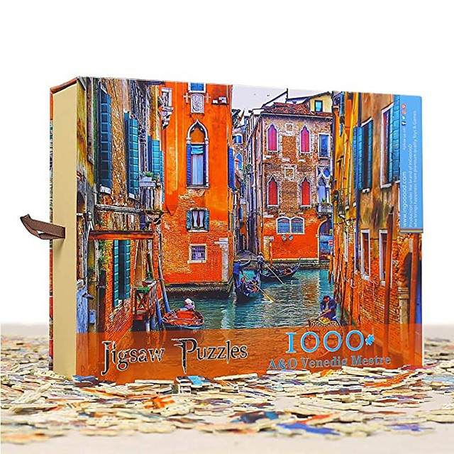 1000 pcs European Scenic Jigsaw Puzzle Adult Puzzle Gift Stress and Anxiety Relief Parent-Child Interaction Wooden Adults Toy Gift