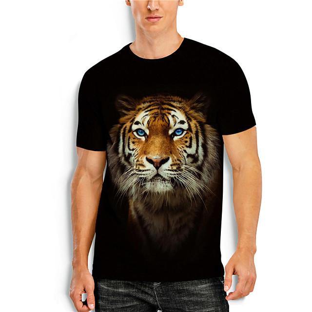 Men's T shirt 3D Print 3D Tiger Animal 3D Print Short Sleeve Daily Tops Casual Black