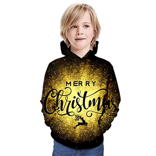 Kinderen Jongens Hoodie & Sweatshirt Kerstmis Letter Lange mouw Kerstmis Tops Basic Goud