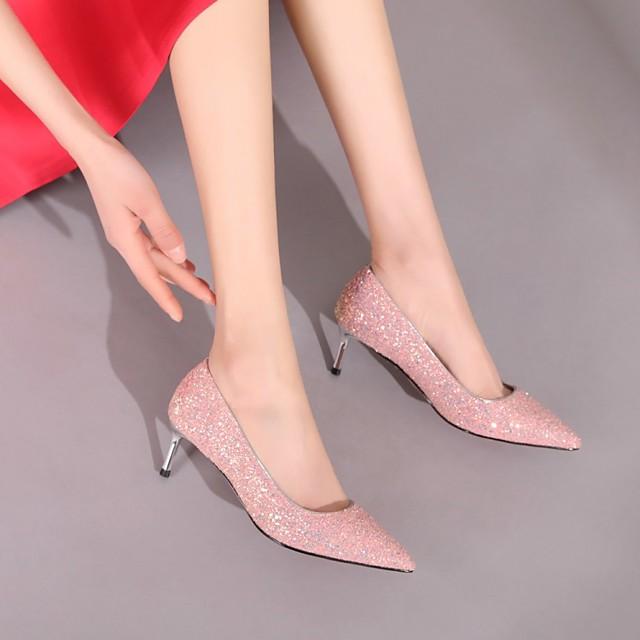 Women's Wedding Shoes Stiletto Heel Pointed Toe Wedding Pumps Wedding Daily PU Synthetics White Red Fuchsia