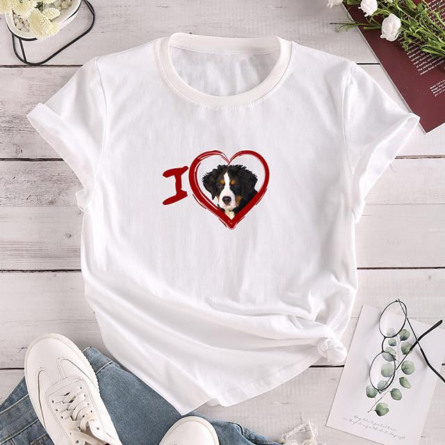 Women's T shirt Dog Graphic Heart Print Round Neck Tops 100% Cotton Basic Basic Top White Yellow Blushing Pink