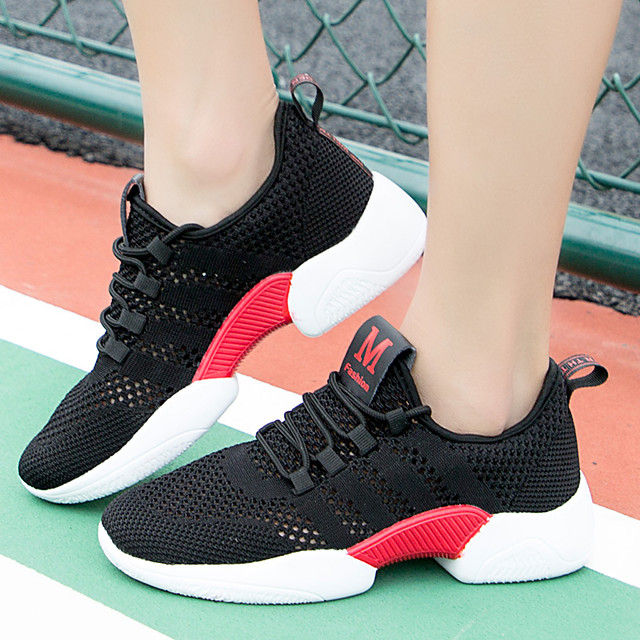 Women's Flats Flat Heel Round Toe Sporty Daily Outdoor Running Shoes Walking Shoes Mesh Solid Colored Black / Red White Black