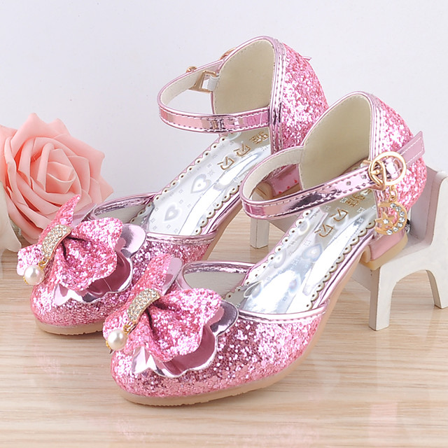 Girls' Heels Moccasin Flower Girl Shoes Princess Shoes Rubber PU Little Kids(4-7ys) Big Kids(7years +) Daily Party & Evening Walking Shoes Rhinestone Buckle Sequin Pink Silver Fall Spring