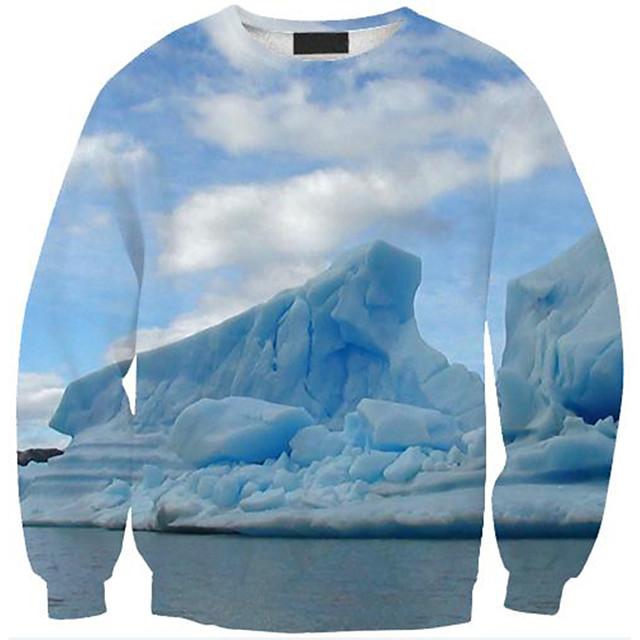 Women's Pullover Sweatshirt Graphic Scenery 3D Print Daily 3D Print Basic Casual Hoodies Sweatshirts  White Blue Purple