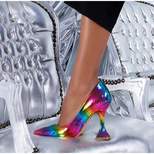 Women's Heels Pumps Pointed Toe Casual Daily Walking Shoes Faux Leather Color Block Rainbow
