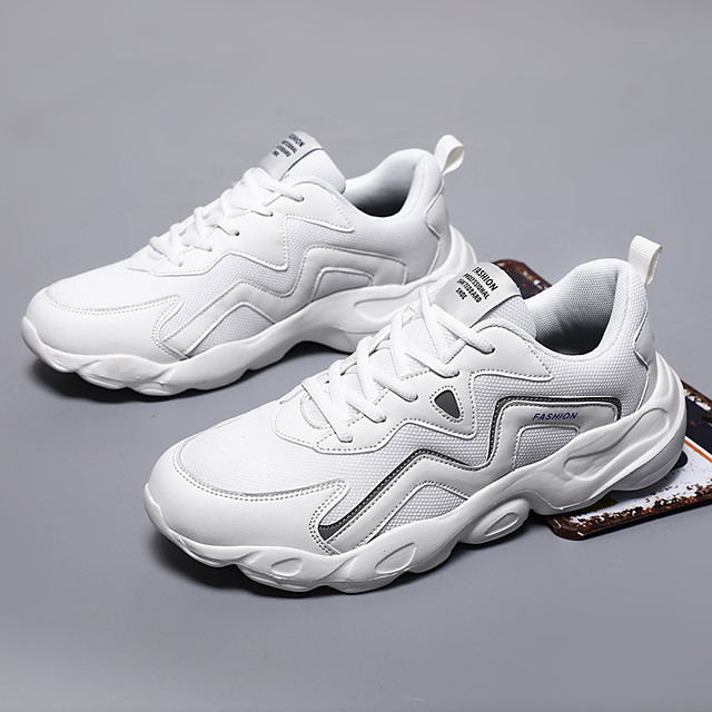 Men's Trainers Athletic Shoes Sporty Casual Athletic Running Shoes Basketball Shoes Tissage Volant Breathable Non-slipping Wear Proof White Black Gray Fall
