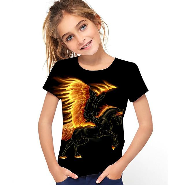 أطفال للفتيات تي شيرت كنزة مطبوعة كم قصير حصان الرسم 3D حيوان طباعة أطفال قمم نشيط أسود