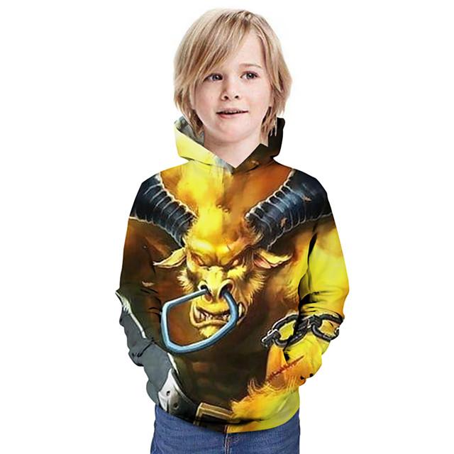 Kinderen Jongens Hoodie & Sweatshirt Grafisch dier Lange mouw Tops Basic Geel