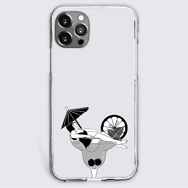 Anime Black & White Case For Apple iPhone 12 iPhone 11 iPhone 12 Pro Max Unique Design Protective Case Shockproof Back Cover TPU