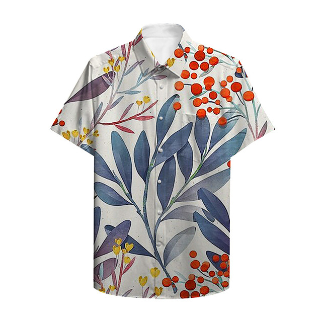 Men's Shirt Other Prints Plants Button-Down Print Short Sleeve Casual Tops Casual Hawaiian Blue