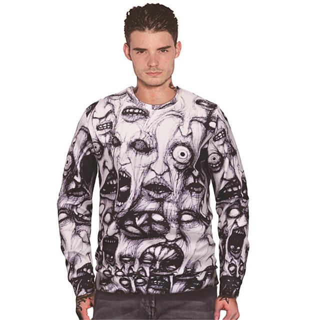 Men's Pullover Sweatshirt Graphic Prints Devil Print Sports & Outdoor Daily 3D Print Casual Hoodies Sweatshirts  White