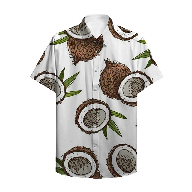 Men's Shirt Other Prints Coconut Fruit Button-Down Print Short Sleeve Casual Tops Casual Hawaiian White
