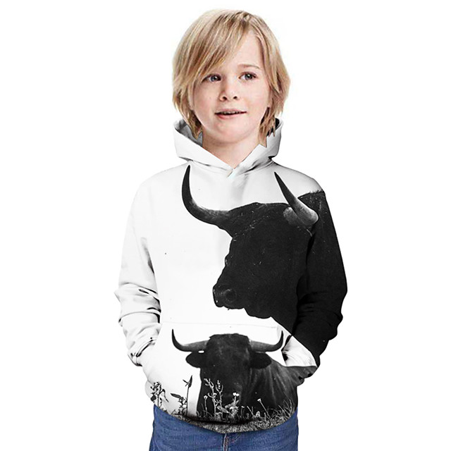 Kinderen Jongens Hoodie & Sweatshirt Grafisch dier Lange mouw Basic Wit