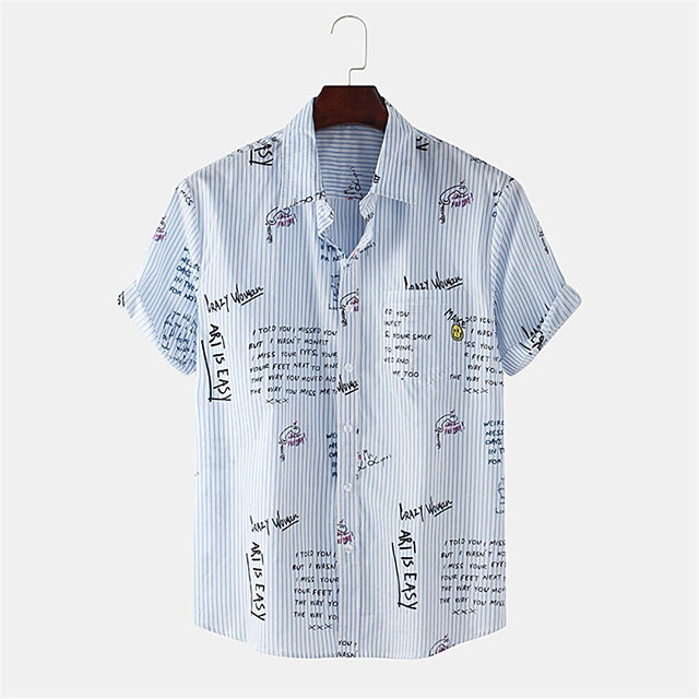 Men's Shirt Other Prints Striped Letter Button-Down Print Short Sleeve Daily Tops Casual Blue